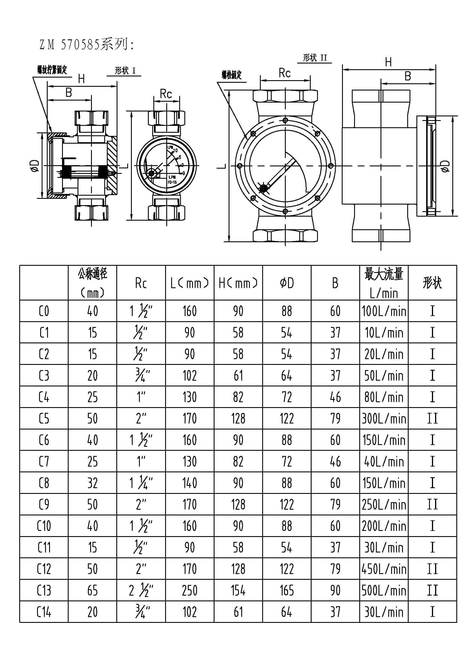 ZM570585系列视流器(尺寸图)